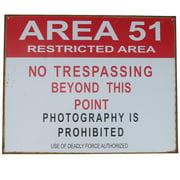 Tin Metal Sign- US Area 51 Restricted No Trespassing -Vintage Bar/Pub Wall Decor