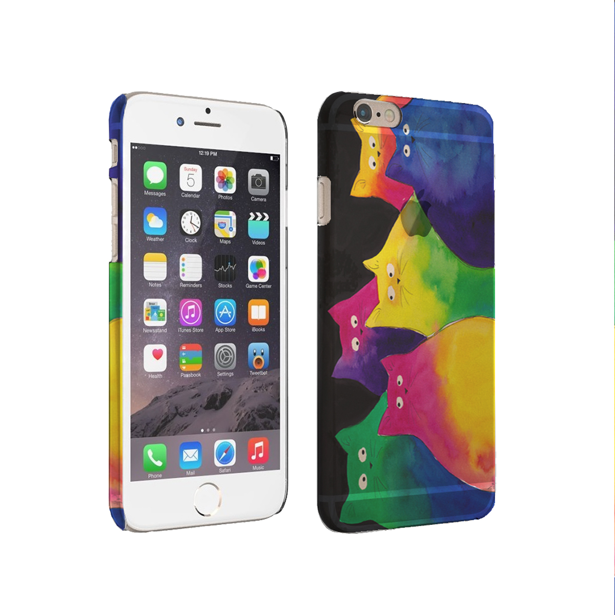 KuzmarK iPhone 6 Plus Rubber Cover Case - Very Colorful Two-Toned Chunky Kitties Art by Denise Every