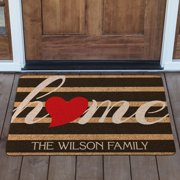 Personalized Striped Heart Home Doormat