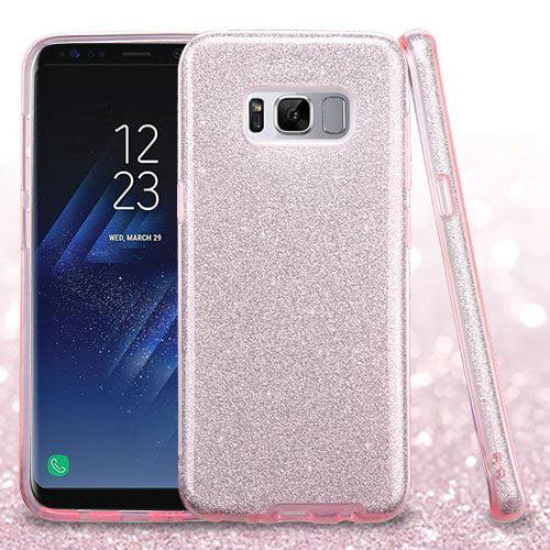 Samsung Galaxy S8 Case - Wydan Slim Hybrid Glitter Sparkle Shock Absorbant Skin TPU Phone Cover Silver on Black