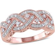 1/8 Carat T.W. Diamond Rose Rhodium-Plated Sterling Silver Infinity Ring