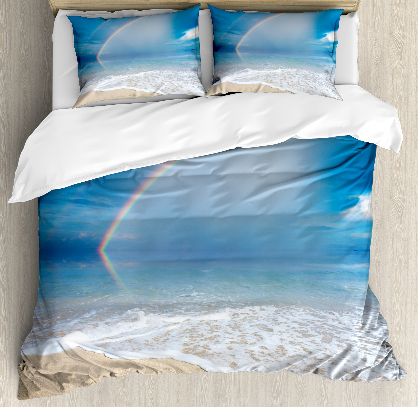 Starfish Decor King Size Duvet Cover Set, Rainbow Over The Sea Clouds And  Clear Sky