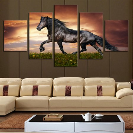 Bestller Unframed 5Pcs Modern Art Oil Colourful Horse Painting Canvas Print Wall Art Picture Living Room Bedroom Home Decor ()