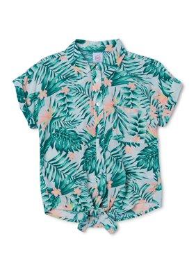 Wonder Nation Printed Tie Front Camp Shirt (Little Girls, Big Girls & Plus)