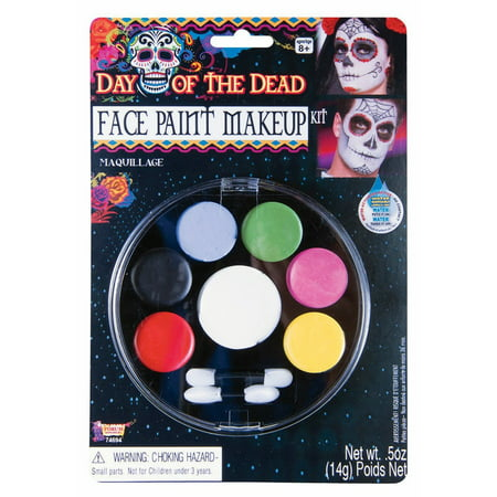 Halloween Day Of The Dead Facepaint Makeup - Grey Halloween Makeup