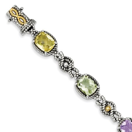 """Shey Couture 925 Sterling Silver with Gold-Tone Accent Pink/Green/Lemon Quartz 10 MM Bracelet, 7.25"""""""