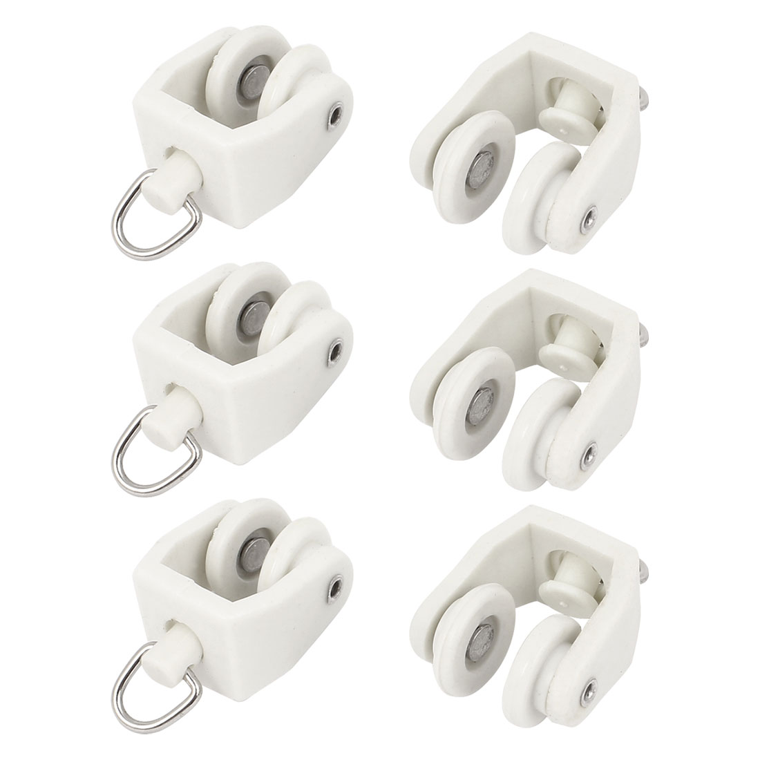 6 Pcs Plastic 13mm Dia Wheel Swivel Ring Curtain Track Carrier Rollers White