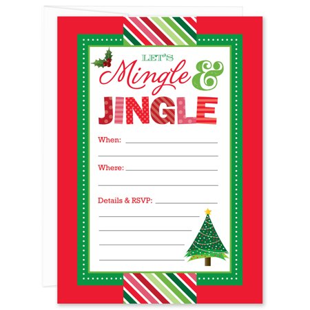 mingle and jingle christmas tree fill in party invitations pack of