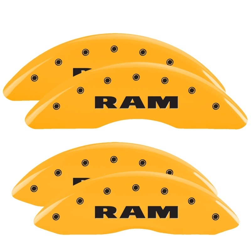MGP 4 Caliper Covers Engraved Front & Rear RAM Yellow finish black ch