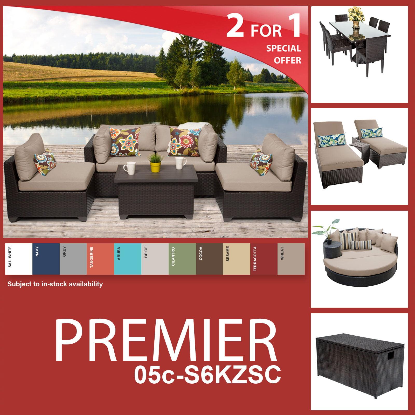 Premier 18 Piece Outdoor Wicker Patio Furniture Package PREMIER-05c-S6KZSC