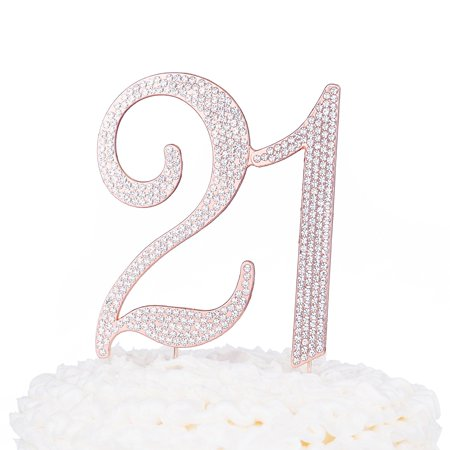 21 Cake Topper for 21st Birthday Party Rose Gold Metal Number Decoration  (Rose Gold)