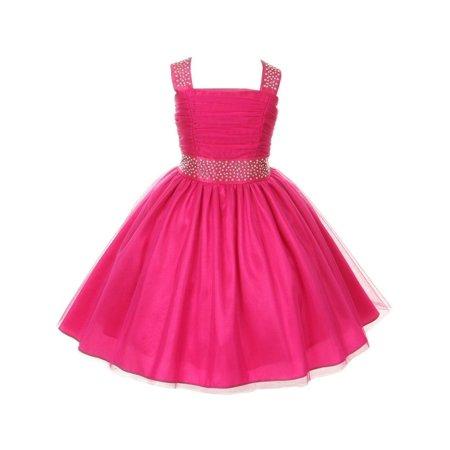 Reversible Cinderella Dress (Cinderella Couture Little Girls Fuchsia Rhinestone Ruched Sleeveless Dress)