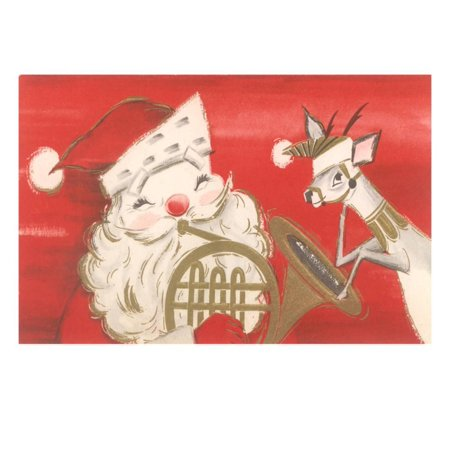 - Reindeer, Santa with French Horn Print Wall Art