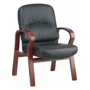 Avenue 6 Office Star WD5675-EC3 Eco Leather Visitors Chair with Cherry Finish Wood Base and Arms