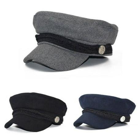 Ladies Womens Girls Wool Blend Baker Boy Peaked Cap Newsboy Beret Hat (Ultrafit Wool Blend Cap)