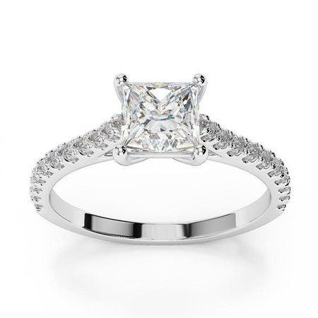 - Harry Chad HC10485-6 2 CT White Gold 14K Princess Cut with Round Diamond Ring, Color G - VS2-VVS1 Clarity