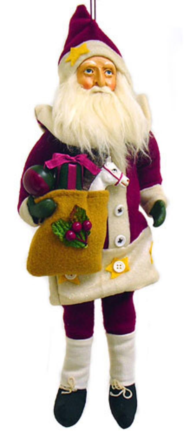 Country Santa Claus With Gifts Cloth Christmas Ornament 14