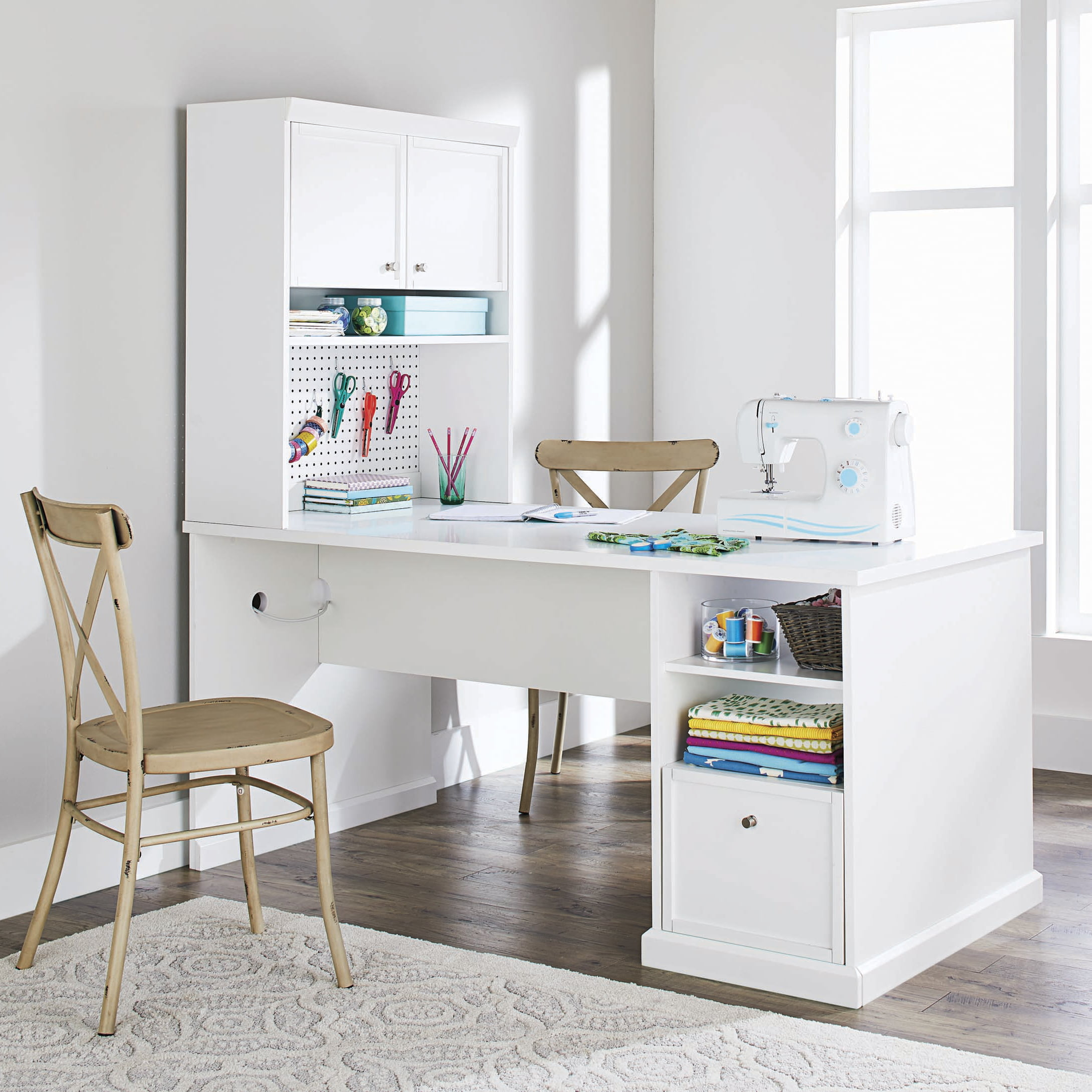 Better Homes Gardens Craftform Sewing And Craft Table With Storage Hutch And Pegboard Walmart Com Walmart Com
