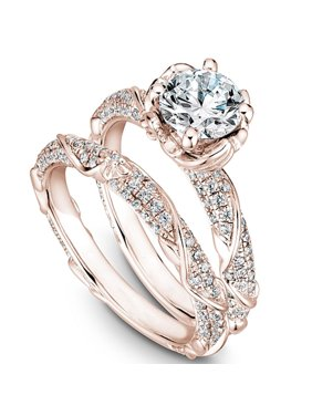 Cluster 2 Carat Round Brilliant Moissanite and Diamond Wedding Ring Set in 10k Rose Gold