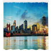 "Cincinnati Shower Curtain, Overview of the City Nighttime at Dusk Twilight Bridge Ohio River Waterfront, Fabric Bathroom Set with Hooks, 69""W X 84""L Extra Long, Multicolor, by Ambesonne"