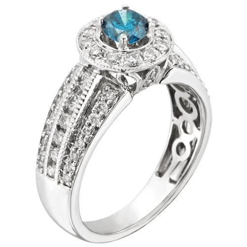 Sofia  14k Gold 1ct TDW IGL Certified Prong-set Blue Diamond Engagement Ring