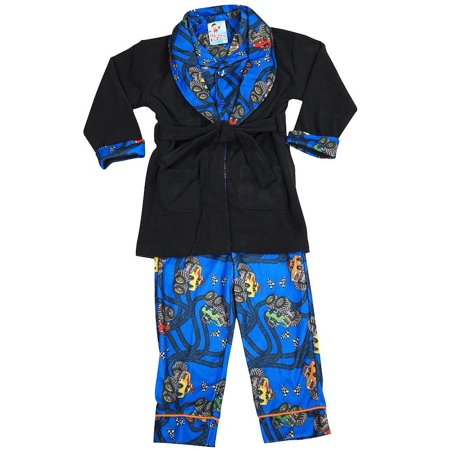 Bunz Kidz - Baby Boys 3 Piece Robe and Pajama Set black royal blue / 12 Months