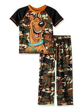 Scooby Doo Boys' 2 Piece Jersey Pajama Set, Camo, Size: Large / 10