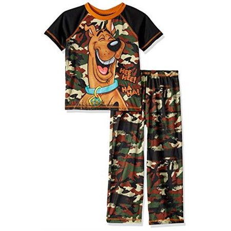 Scooby Doo Boys' 2 Piece Jersey Pajama Set, Camo, Size: Large / 10