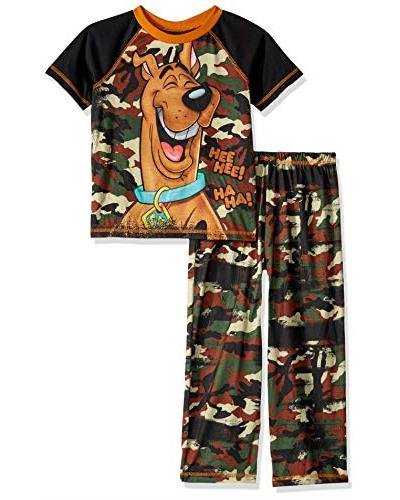 Scooby Doo Boys' 2 Piece Jersey Pajama Set, Camo, Size: Medium / 8