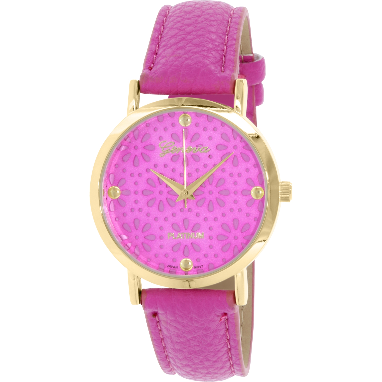 Geneva Platinum Women's 4934.MagENTA.GOLD Pink Leather Quartz Watch by Geneva Platinum