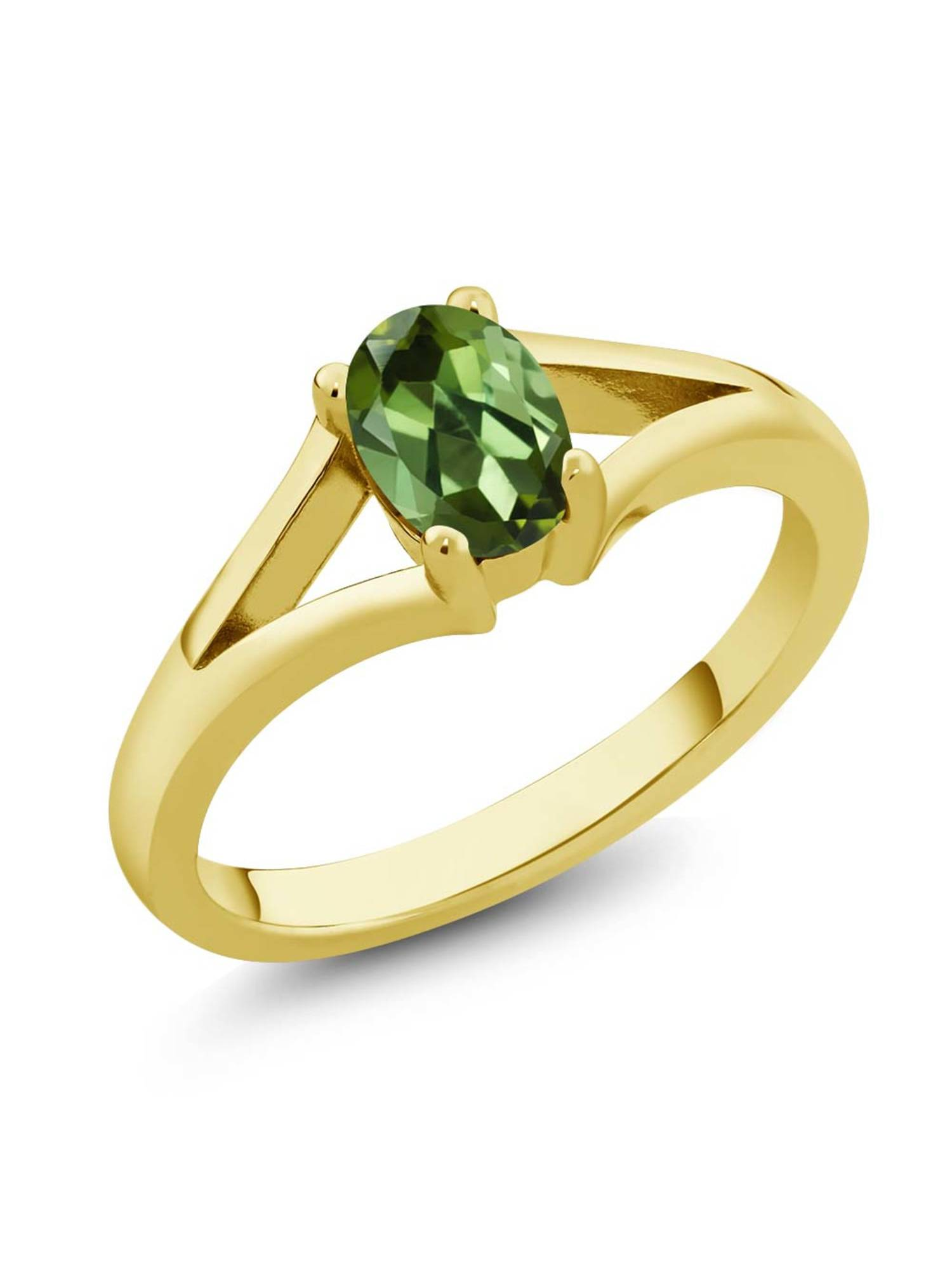 0.85 Ct Oval Green Tourmaline Yellow Gold Plated Silver Solitaire Ring by