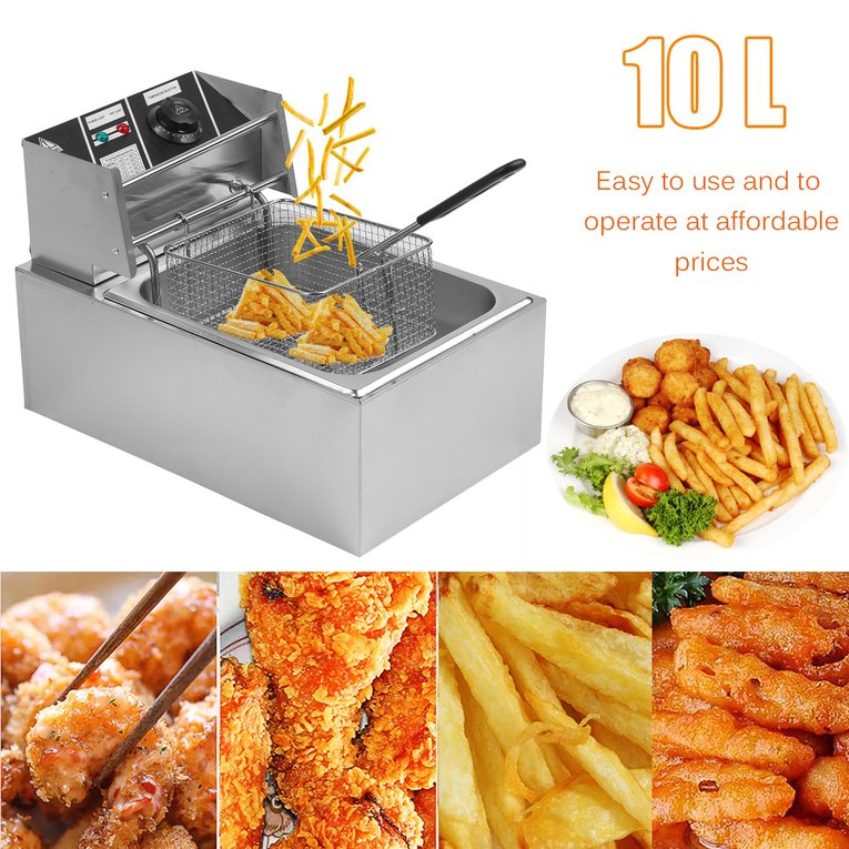 Electric Deep Fryer 10L 2.500W Countertop Stainless Steel Single Container Tank Commercial Restaurant Kitchen Frying Deep Fryer New