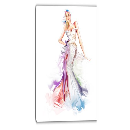 Design Art Beautiful Fashion Girl Contemporary Graphic Art on Wrapped Canvas