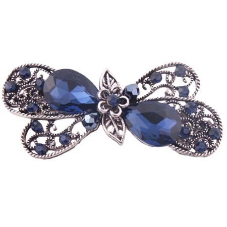Hair Barrettes, Coxeer Bridal Vintage Rhinestones Butterfly Hair Clip Claw Barrette Accessories for Women & Girls