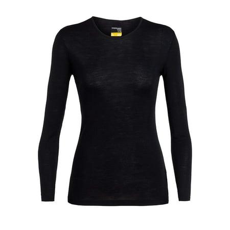 Icebreaker Merino Women's Everyday Base Layer Long Sleeve Crew Neck Shirt, Merino Wool Black (Icebreaker Wool Shirt)