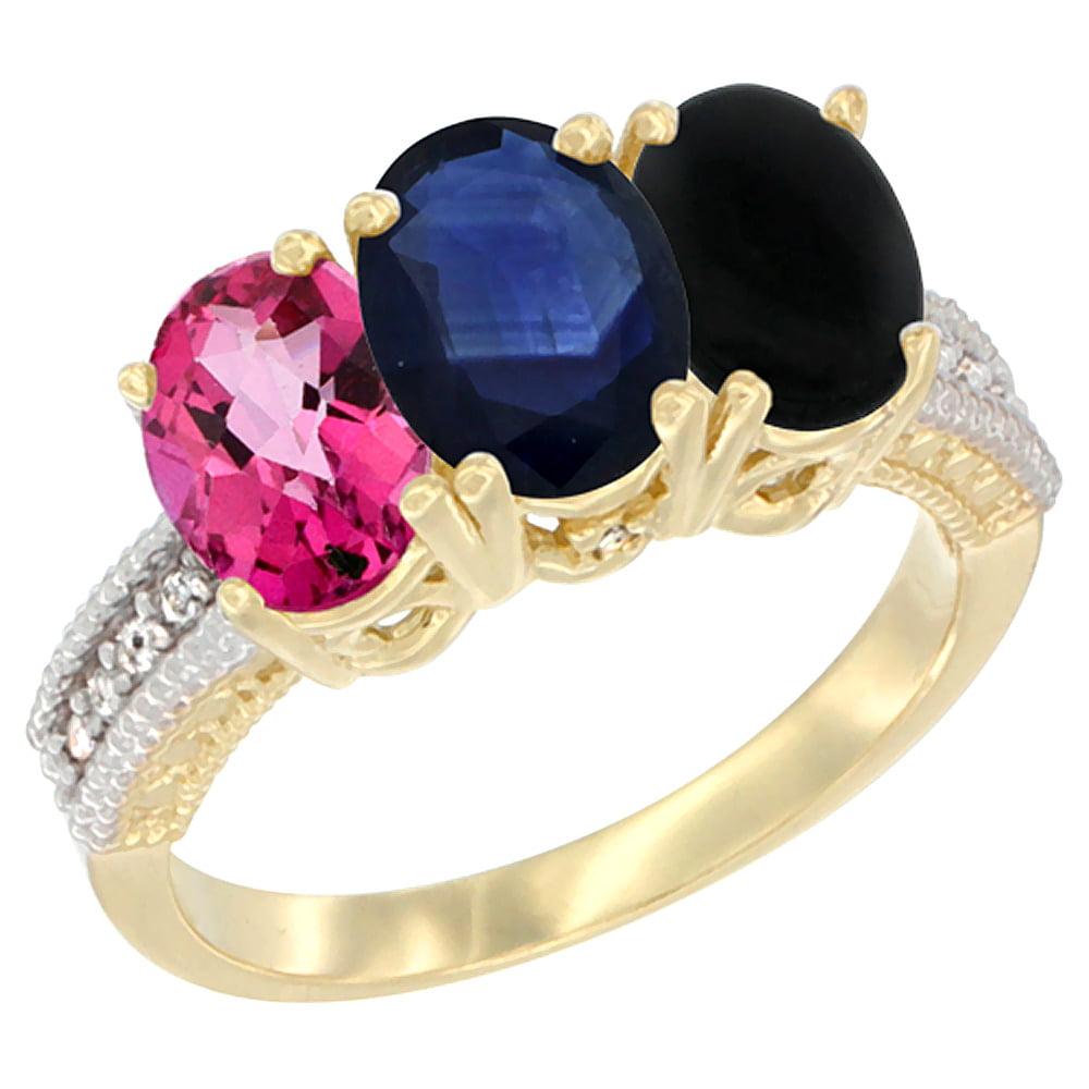 10K Yellow Gold Diamond Natural Pink Topaz, Blue Sapphire & Black Onyx Ring 3-Stone 7x5 mm Oval, sizes 5 10 by WorldJewels