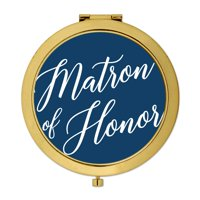 Andaz Press Gold Compact Mirror Matron of Honor Wedding Gift, Navy Blue, 1-Pack