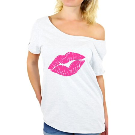 Awkward Styles Pink Lips Shirt Retro 80s Neon Lips T Shirt 80s Shirt Off the Shoulder 80s Accessories 80s Rock T Shirt 80s T Shirt 80s Costume 80s Clothes for - 80s Themed Outfits