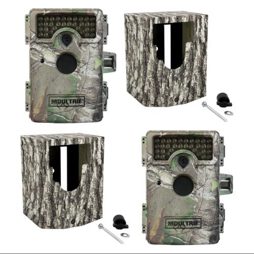 Moultrie M-1100i Mini No Glow Infrared Trail Game Cameras + Security Boxes, 2