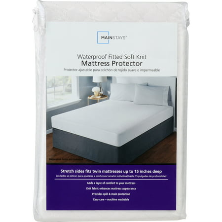 Mainstays Waterproof Fitted Soft Knit Mattress Protector, 1 Each (Waterproof Twin Mattress Pad)