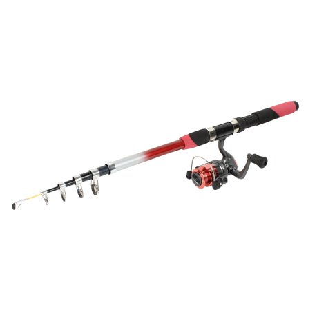 Fuchsia 6 sections retractable fish rod pole 2 6m w for Walmart fishing poles