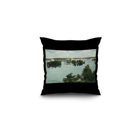 Thousand Islands, New York - View from Echo Lodge (16x16 Spun Polyester Pillow, Black Border) ()
