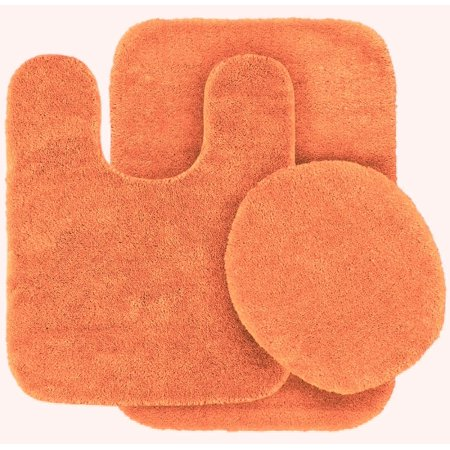 Pleasant 3 Pc Orange Bathroom Set Bath Mat Rug Contour And Toilet Lid Cover With Rubber Backing 6 Home Interior And Landscaping Ponolsignezvosmurscom