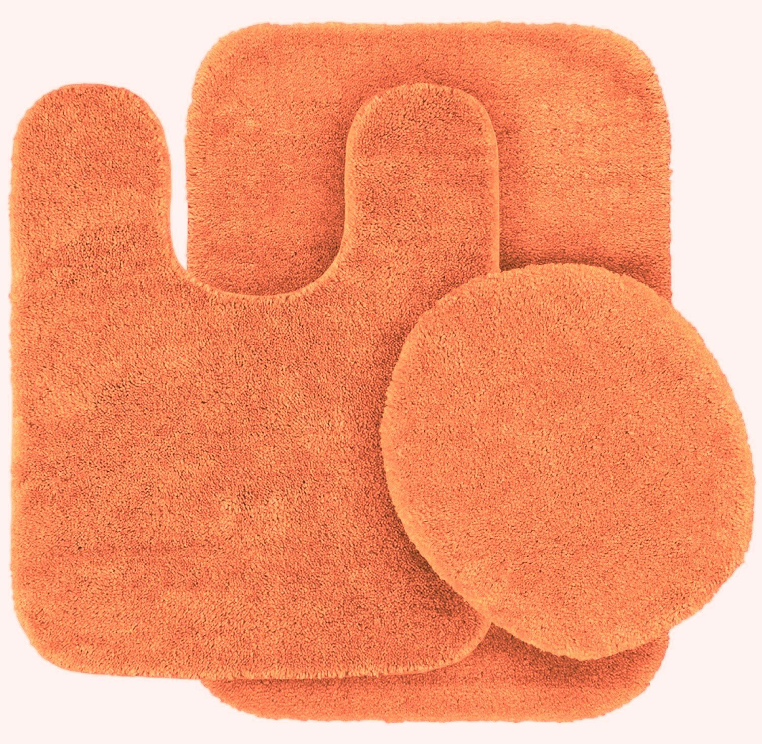 3 Pc ORANGE Bathroom Set Bath Mat RUG, Contour, and Toilet Lid Cover, with Rubber Backing #6