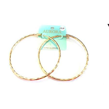 - Clip on Earrings Hypoallergenic Hoop Earrings 3 Inch Gold Tone Hoop Earrings