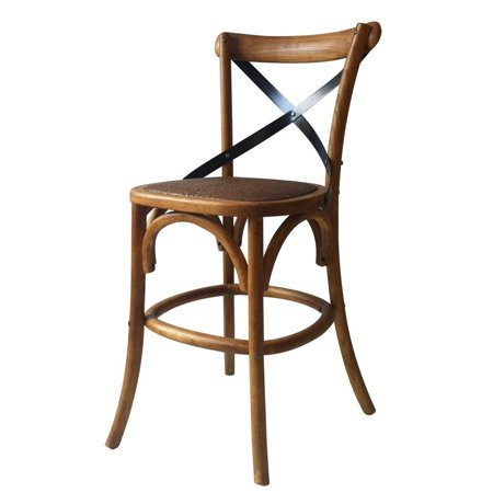 Joveco Vintage Style Solid Wood Cane Seat Barstool Dinner Chair