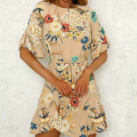 Fasion Women Wrap Summer Boho Floral Paisley Mini Print Dress Ladies Holiday Beach