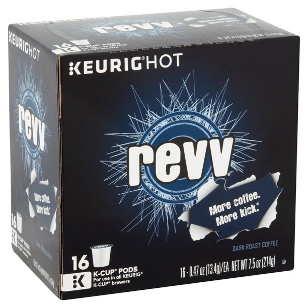 REVV Keurig Single-Serve K-cup Pods, Dark Roast Coffee, 16 count