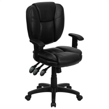 Scranton & Co Leather Mid-Back Ergonomic Office Chair with Arms in Black - image 3 of 4