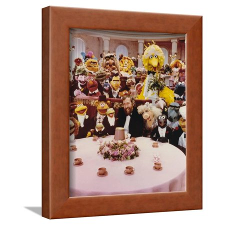 Jim Henson Dining with Sesame Street Cast Framed Print Wall Art By Movie Star (Star Cast Of Wolf Of Wall Street)